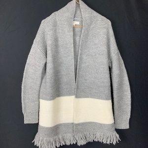 LOFT Gray White Fringe Knit Open Cardigan Sweater